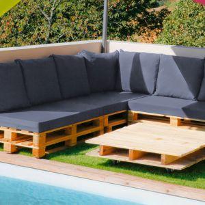 Set de 3 coussins déhoussables pour mobilier palette - Gris anthracite