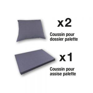 Set de 3 coussins déhoussables pour mobilier palette - Gris perle